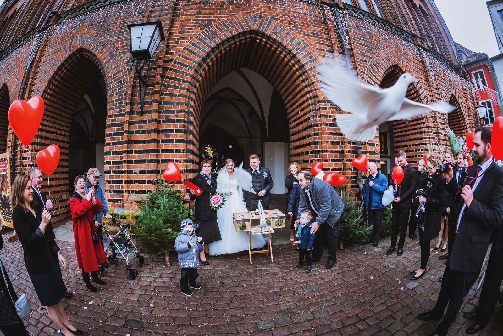 Tauben zur Hochzeit am Standesamt Rathaus Stralsund Copyright by Hochzeitsfotograf www.berliner-hochzeitsfotografie.de