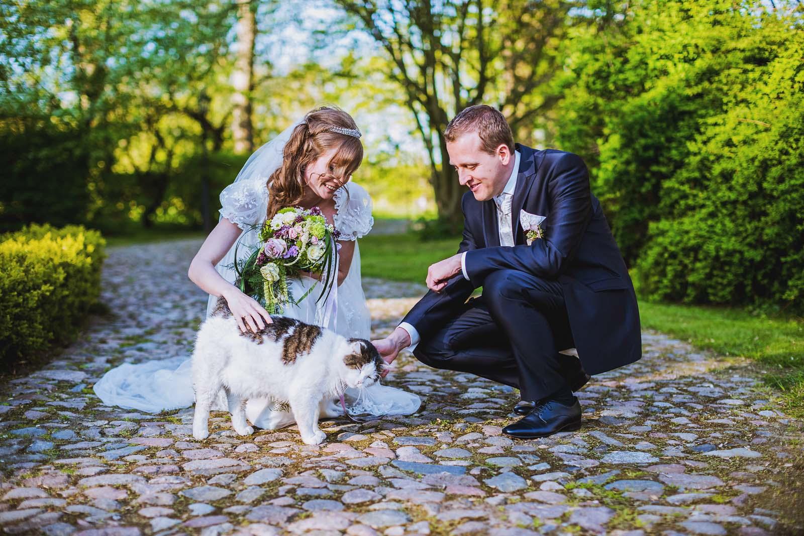 Hochzeitsportrait mit Katze Copyright by Hochzeitsfotograf www.berliner-hochzeitsfotografie.de